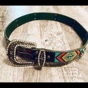 NWT Blazin Roxx Aztec Rhinestones Turquoise Belt M